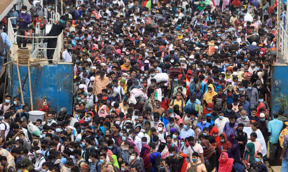 Thousands of people return to Dhaka using the Shimulia waterway in Bangladesh following the decision to reopen factories producing good for export.