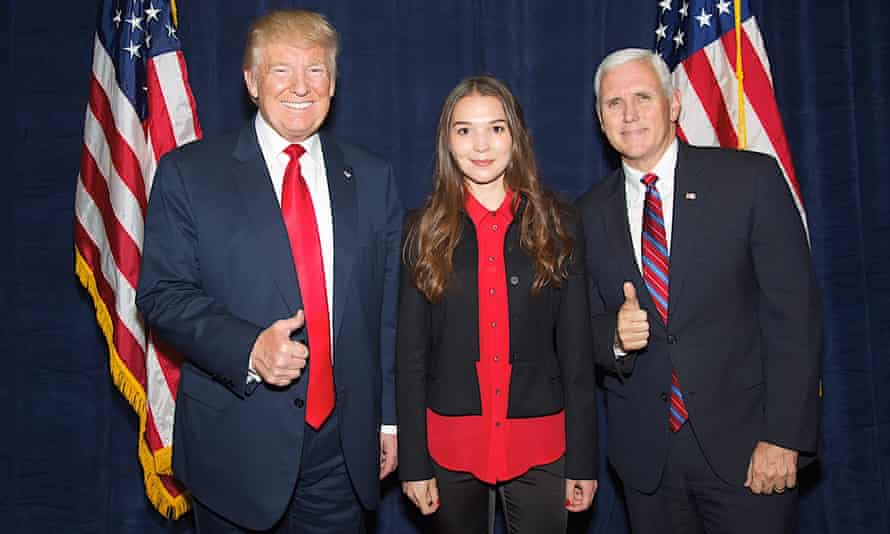 Svetlana Stanovkina, the tycoon Simon Kukes's future wife, with Donald Trump and Mike Pence at a private election fundraising event in New York in 2016.