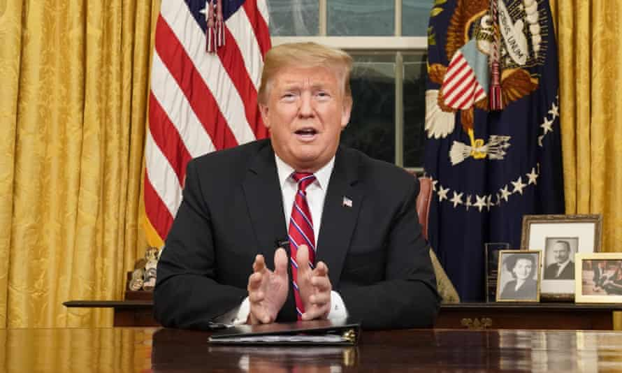 Donald Trump speaks from the Oval Office about border security on 8 January.