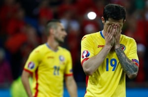 Romania's Bogdan Stancu reacts after being knocked out of Euro 2016 at the group stage.