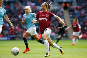 West Ham's Jane Ross runs at City's defence as her side dominate the first half.