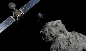 A photo illustration of the Rosetta probe and Philae lander above the 67P/Churyumov-Gerasimenko comet, during November's historic landing.