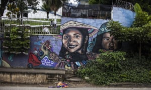 Street art in Comuna 13, previously one of Colombia's most dangerous neighbourhoods, in Medellin.