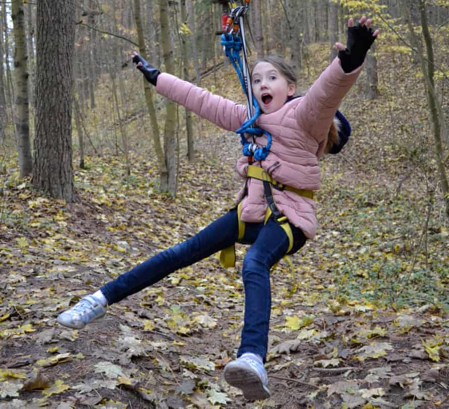 Mia on the zipwire near Anyksciai