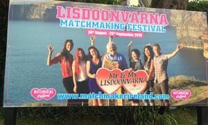 A billboard advertising Lisdoonvarna's matchmaking festival