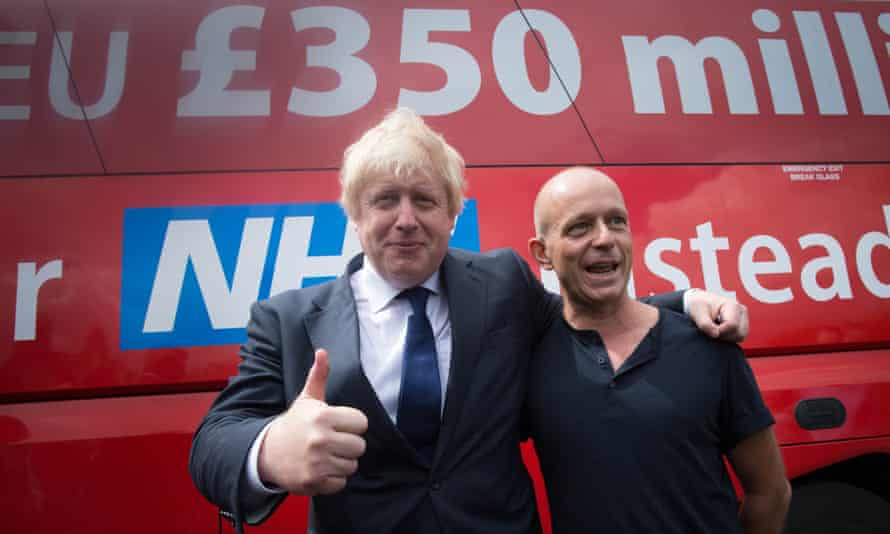 Boris Johnson and Steve Hilton in front of leave campaign poster