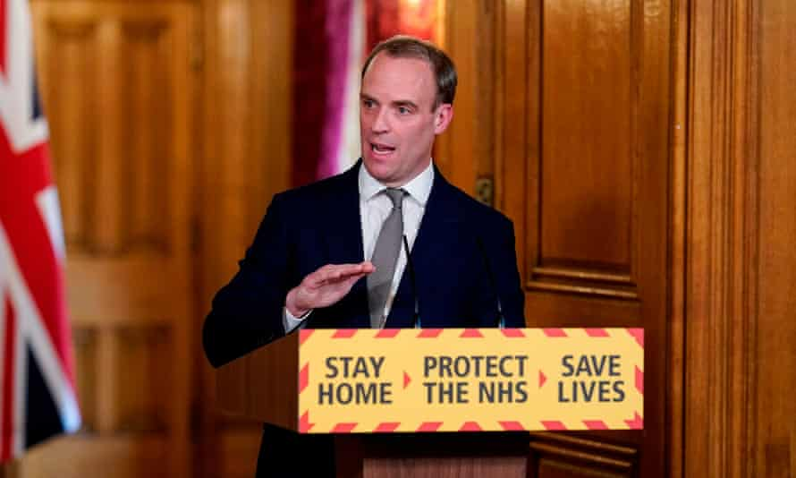 Britain's foreign secretary Dominic Raab speaking during a remote press conference to update the nation on the Covid-19 pandemic, inside 10 Downing Street in central London.