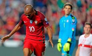 Joao Mario wheels away after Johan Djourou's own goal.