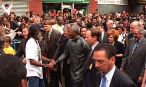 Nelson Mandela in Brixton during his state visit to Britain in 1996.