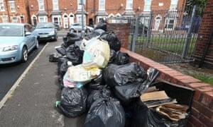Rubbish bags piled high in Birmingham