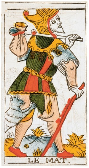Le Mat (The Fool) Tarot de Marseille (type II), 1709The Tarot de Marseille decks are named for their French birthplace, as many of these decks were created in the city of Marseille, renowned for the quality of its printing presses. Tarot was most likely introduced to France in the late 15th or early 16th century from Italy. The earliest surviving Tarot de Marseille cards are credited to the artist Jean Noblet and printed in Paris around 1650.