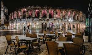 The Arena di Verona in Verona, Italy, where bar and restaurants must close early under the latest coronavirus restrictions.