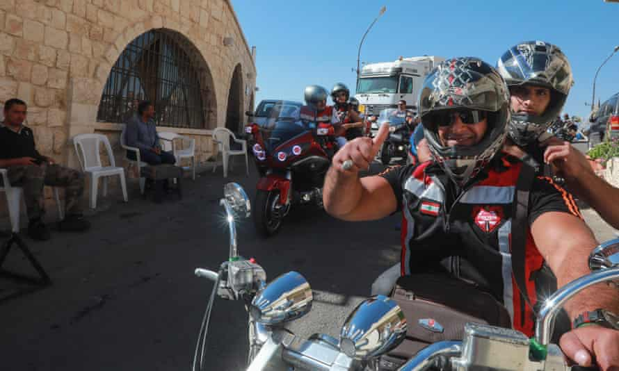 Motorcyclists from Syria, Lebanon, and Jordan take part in a ride to encourage tourism through the town of Saidnaya, north of Syria's capital Damascus, in September.