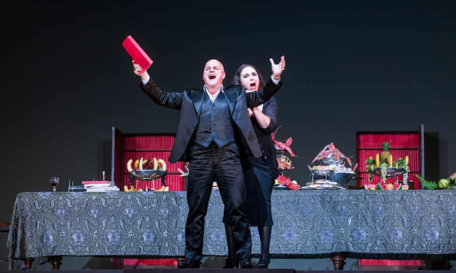 Christopher Purves (Don Giovanni) and Christine Rice (Donna Elvira) in Don Giovanni at the Coliseum: 'glitters with black, chiselled wit'.