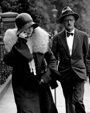 Joyce pictured in 1931 with Nora Barnacle after their wedding in London.