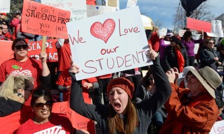 Teachers strike in Denver, Colorado on 12 February.