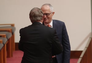 Western Australian Liberal Senator Chris Back is congratulated Malcolm Turnbull.