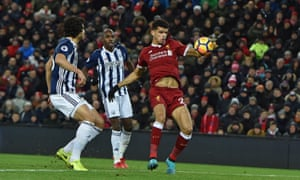 Liverpool's Dominic Solanke knocks in what he thought was a late winner against West Bromwich Albion with his hand.