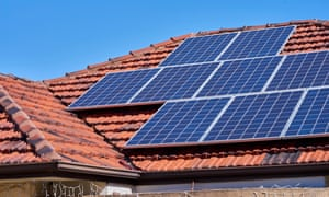 Solar panels on a house roof in Adelaide, Australia