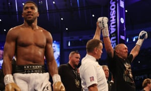 Anthony Joshua reacts as Oleksander Usyk is declared the winner.