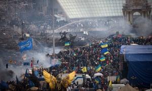 Protests in Maidan Square, Kiev, February 2014.