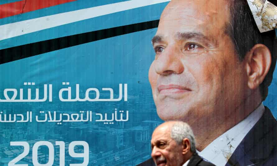 A referendum campaign poster showing  the Egyptian president, Abdel Fattah al-Sisi