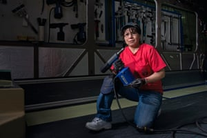 Maria Nunes-Rothstein works as an assembly technician at the New Flyer Industries bus factory in St Cloud, Minnesota. 'It pays my bills, it supports my family. I love working here.'