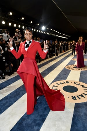 Janelle Monáe arrives at the Vanity Fair afterparty