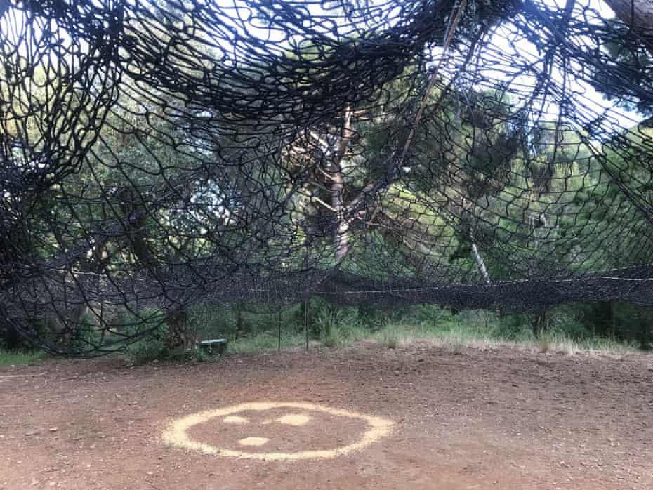 The net trap, ready for wild boar.