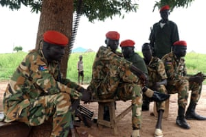 SPLA soldiers from the Dinka tribe at the barracks in Wau, South Sudan.