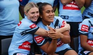 Maddie Studdon hugs NSW teammate Simaima Taufa