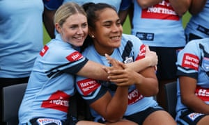 Maddie Studdon (L) and Simaima Taufa (R) pose during the NSW Women's State of Origin Team Photo Session