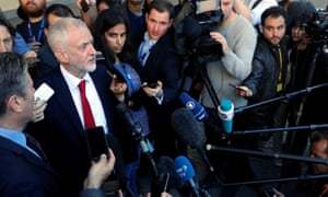Jeremy Corbyn speaking to reporter in Brussels after his meeting with Michel Barnier.