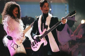Prince performing at the Brit Awards in 1997.