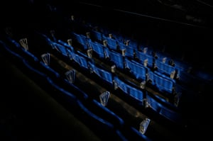 Cardboard clappers are positioned by each seat before the matches at the King Power Stadium.