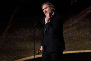 Joaquin Phoenix, winner of the best actor award for Joker, spoke about a variety of issues, including the natural world and equality.
