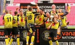 Harrogate Town players celebrate.