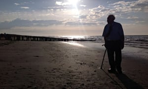 Bill revisiting the beach where he was shot on D Day