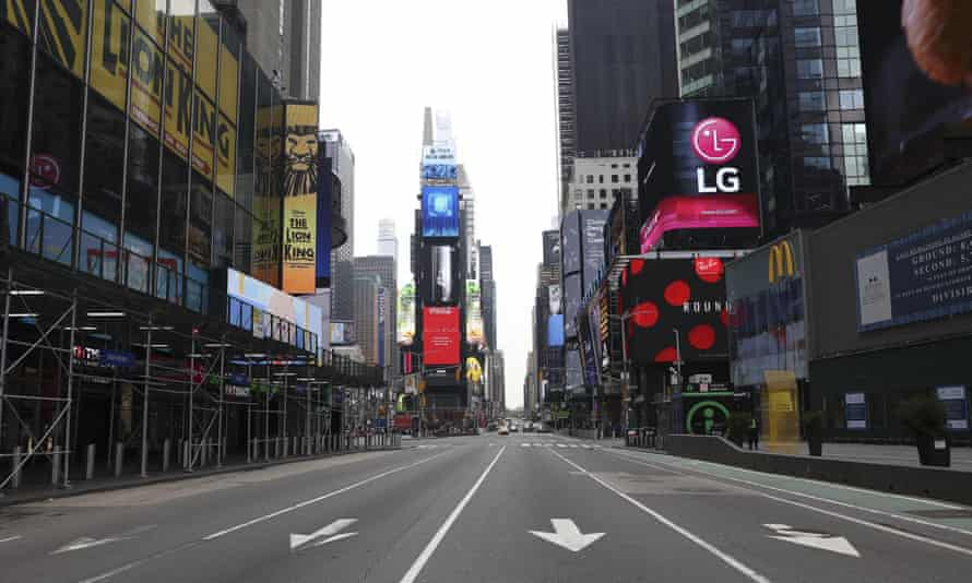 Times Square in New York is seen nearly empty