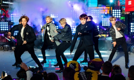 BTS on stage in New York, New Year's Eve 2020.