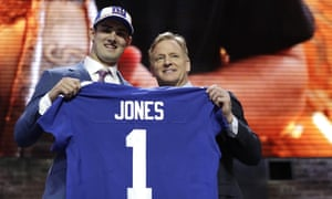 Duke quarterback Daniel Jones poses with NFL commissioner Roger Goodell after the New York Giants selected Jones in the first round