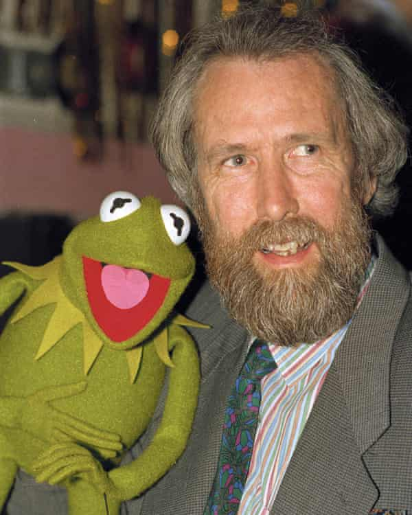 Jim Henson, creator of the Muppets, poses with Kermit the Frog in 1988