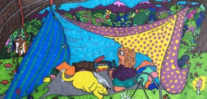Cath Murphy's illustration of her back garden camping adventure