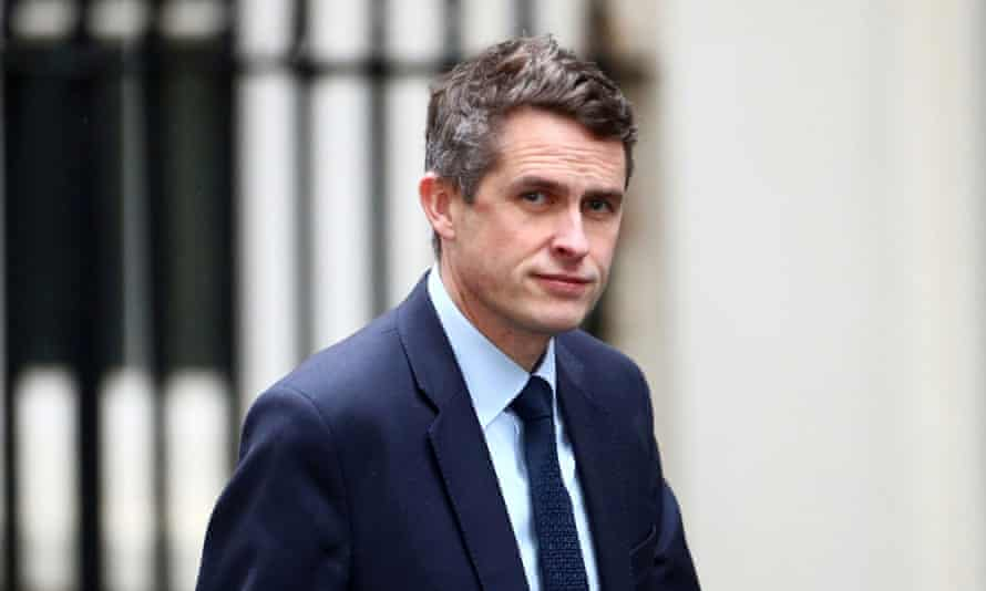 Britain's education secretary, Gavin Williamson, is seen at Downing Street in London.