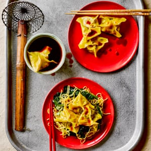 Cabbage, shiitake and water chestnut dumplings with fried noodles.
