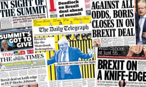 Front pages of the UK papers on Thursday as Boris Johnson seeks to close a Brexit deal.