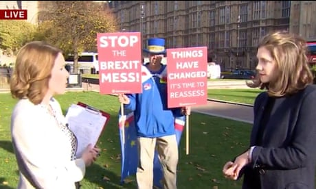 Anti-Brexit protester repeatedly crashes live BBC news interviews – video