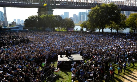 Thousands of supporters attend a campaign rally at Queensbridge Park in New York for Bernie Sanders in October 2019. Some see Sanders' campaigns as a model for a left alternative.