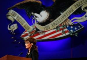 Sarah Palin during the vice-presidential debate with Joe Biden in St Louis, Missouri, on 2 October 2008.