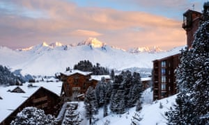 a dawn view over Arc 2000 to Mont Blanc.